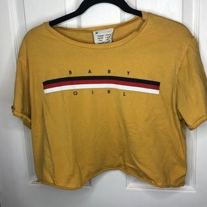 French Pastry Mustard Yellow Crop T Shirt L